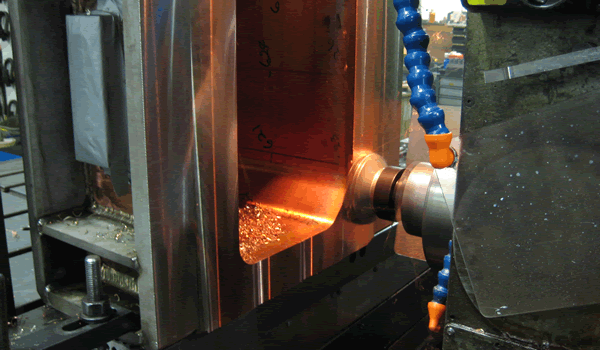 Face Milling of Copper/Steel Weldment